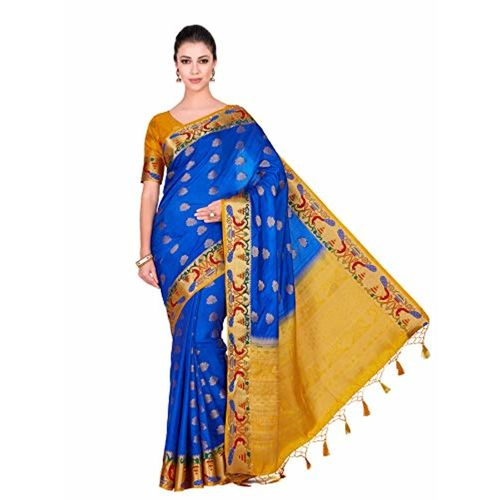 MIMOSA Mimosa Art Wedding silk saree Paithani style With Contrast Blouse Color: Blue (4286-345-2D-RBL-GLD)