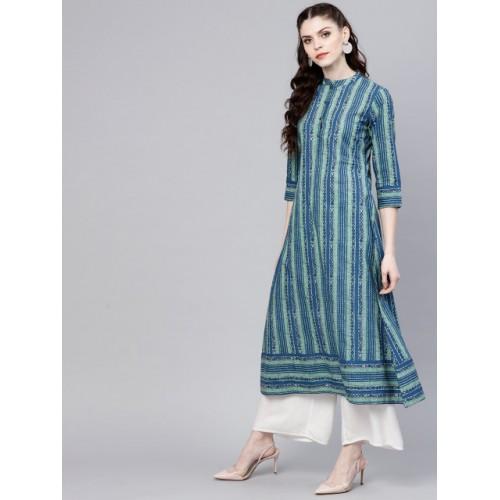 GERUA Blue Cotton Striped Regular Fit A-Line Kurta