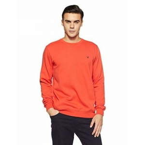 Allen Solly Orange Cotton Solid Long Sleeve Sweatshirt