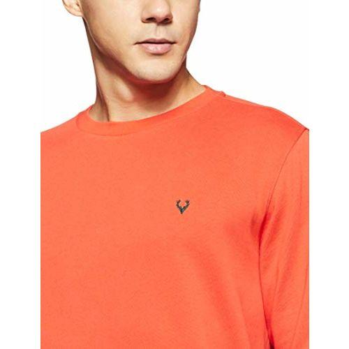 Allen Solly Orange Cotton Solid Long Sleeve Sweatshirt