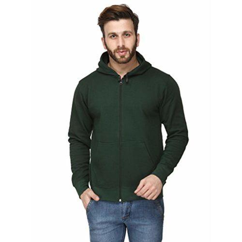 Scott International Scott Men's Premium Rich Cotton Cotton Hoodie Sweatshirt with Zip - Bottle Green