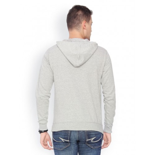 Campus Sutra Grey Cotton Printed Hooded Sweatshirt