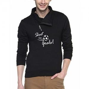 Campus Sutra Black cotton Shawl Neck Printed Sweatshirt