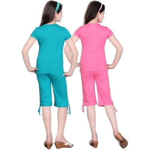 Sinimini Girl's Sky Blue&Pink Printed Top & Capri Set