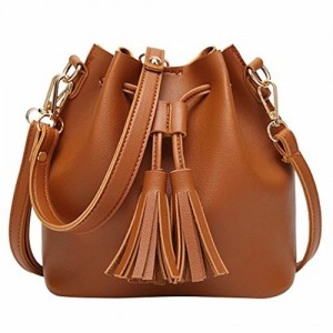 c6add399c LQZ Stylish PU Leather Bucket Shape Cross-Body Sling Shoulder Bag for Women  College Girls
