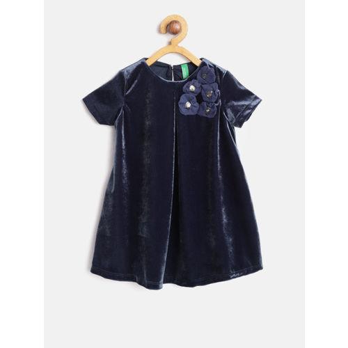 United Colors of Benetton Girls Navy Velvet Finish Solid A-Line Dress