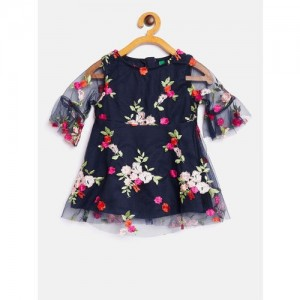 United Colors of Benetton Navy Blue Embroidered Dress