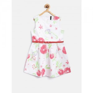 United Colors of Benetton White Printed Fit & Flare Dress