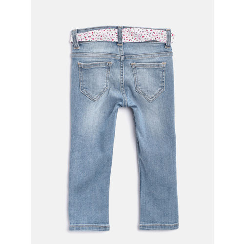 United Colors of Benetton Girls Blue Slim Fit Mid-Rise Clean Look Stretchable Jeans