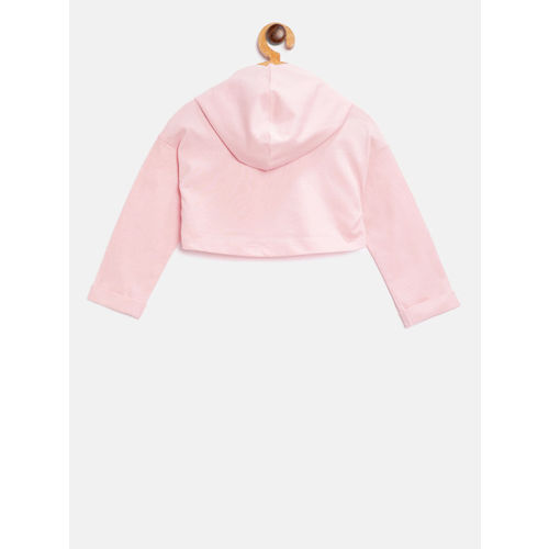 United Colors of Benetton Girls Pink Solid Hooded Crop T-shirt