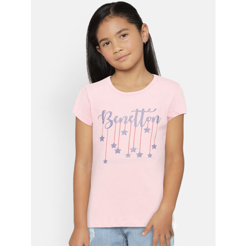 United Colors of Benetton Girls Pink Printed Round Neck T-shirt