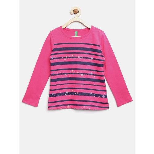 United Colors of Benetton Girls Pink Striped Round Neck T-shirt