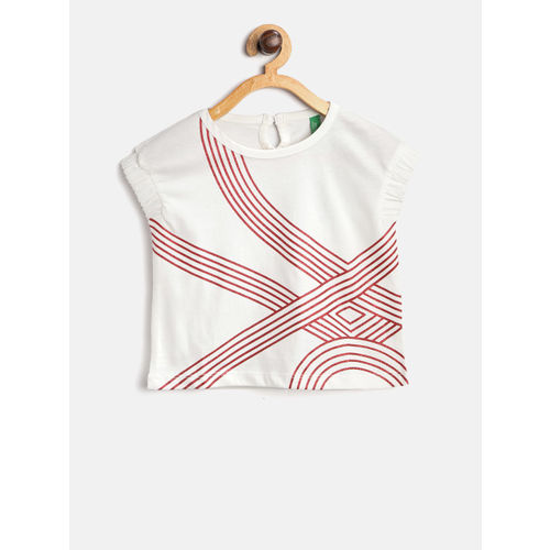 United Colors of Benetton Girls White Printed Round Neck T-shirt