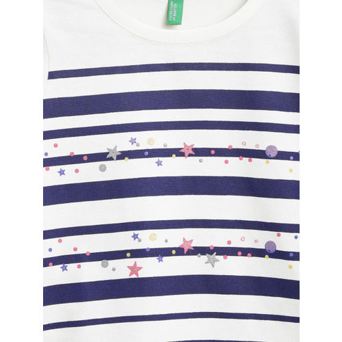 United Colors of Benetton Girls White & Navy Striped Round Neck T-shirt