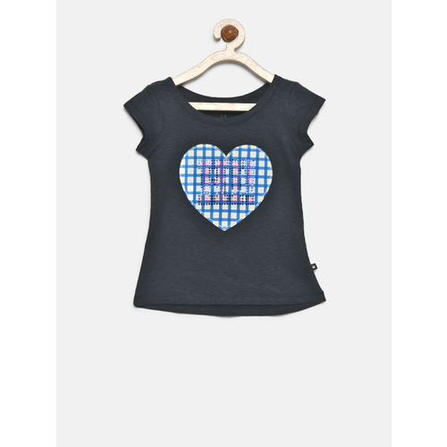 d95ade857e6f1c ... United Colors of Benetton Girls Navy Blue Self Design Round Neck T-shirt  ...