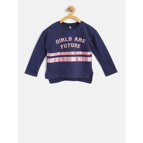 719e57b80ba6e2 ... United Colors of Benetton Girls Navy Blue Printed Round Neck T-shirt ...