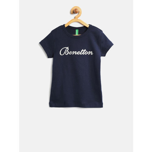 6de5684feed4a5 ... United Colors of Benetton Girls Navy Blue Round Neck T-shirt ...