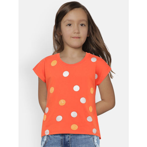 United Colors of Benetton Girls Orange Printed Round Neck T-shirt