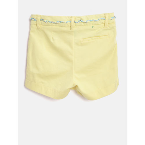 United Colors of Benetton Girls Yellow Solid Regular Fit Regular Shorts