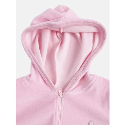 United Colors of Benetton Girls Pink Solid Hooded Sweatshirt