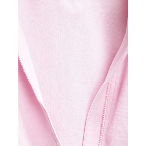 United Colors of Benetton Girls Pink Solid Hooded Sweatshirt