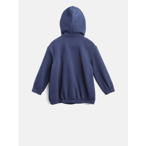 United Colors of Benetton Girls Navy Blue Printed Hooded Sweatshirt