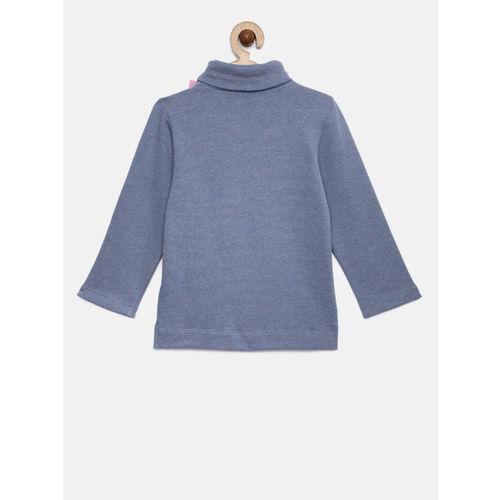 United Colors of Benetton Girls Blue Solid Sweatshirt