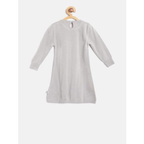 United Colors of Benetton Girls Grey Self Design Longline Pullover