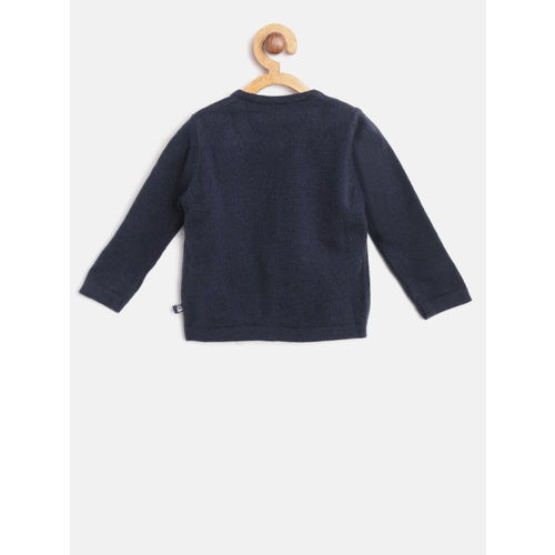 United Colors of Benetton Girls Navy Blue Solid Cardigan
