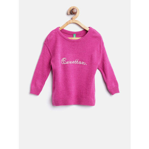 United Colors of Benetton Girls Magenta Solid Pullover
