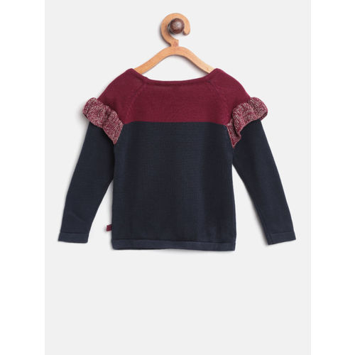 United Colors of Benetton Girls Navy Blue & Maroon Colourblocked Pullover