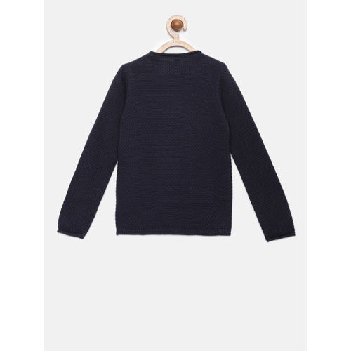 United Colors of Benetton Girls Navy Blue Printed Pullover