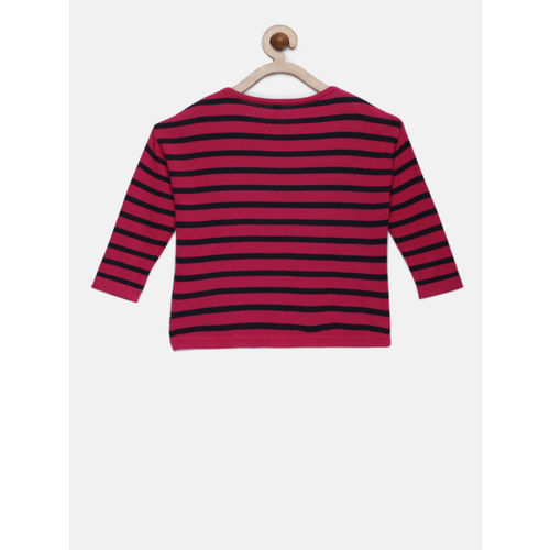 United Colors of Benetton Girls Pink & Black Striped Pullover Sweater