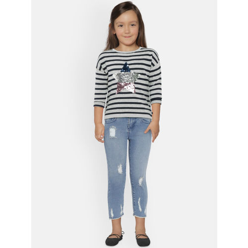 United Colors of Benetton Girls Grey & Navy Blue Striped Pullover