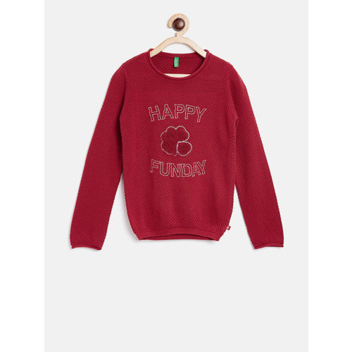 United Colors of Benetton Girls Red Self Design Pullover