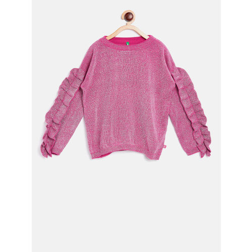 United Colors of Benetton Girls Pink & Silver-Toned Solid Pullover