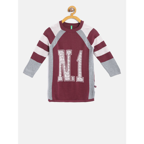 United Colors of Benetton Girls Maroon & Grey Self Design Sweater