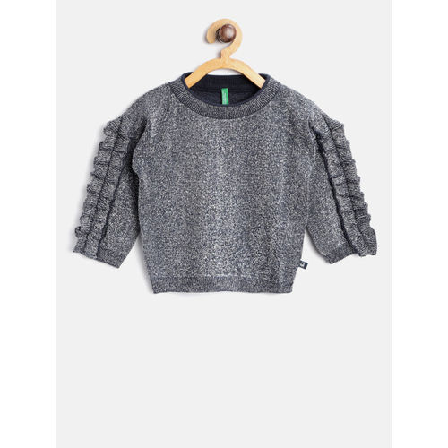 United Colors of Benetton Girls Navy Blue & Silver-Toned Self Design Pullover