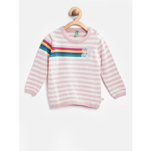 United Colors of Benetton Girls Pink & White Striped Pullover