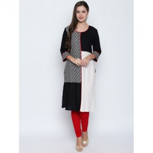 Oomph! Black Rayon Colorblock Straight Kurta