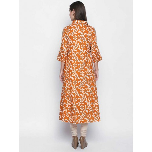 Oomph! Orange Cotton Block Print Flared Kurta