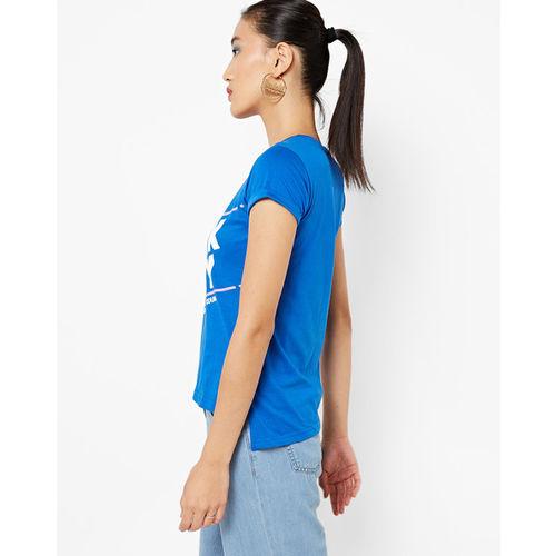 Teamspirit High-Low Typographic Print Crew-Neck T-shirt