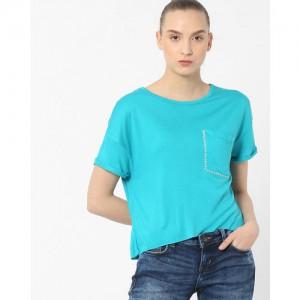 ee448029 Buy AJIO Crew-Neck T-shirt with Tie-Up online | Looksgud.in