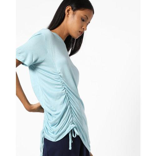 Buy Ajio Crew Neck T Shirt With Ruching Online Looksgud In