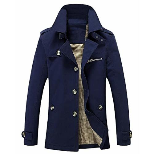 WQ&EnergyMen Men's Fall Winter Washed Long-Sleeve Lapel Pocket Button Long Trench Coat