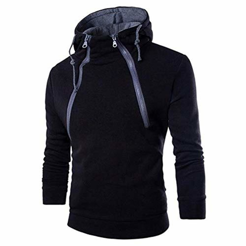 Innersetting Spring Solid Color Slim Fit Fashion Hoodies Men Long Sleeve Zipper Tops