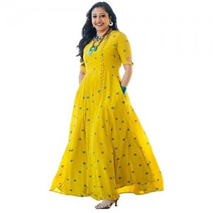 Riddhi Sales Yellow Cotton Printed Kurti
