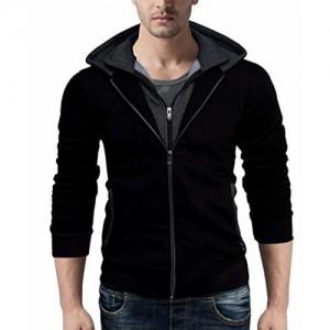 Seven Rocks Black Cotton Hoodie Sweatshirt Jacket