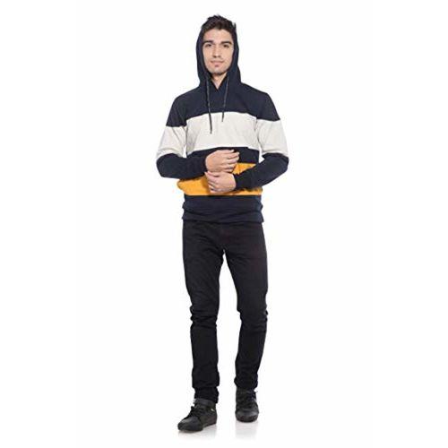 Alan Jones Clothing Alan Jones Men's Cotton Color Block Hooded Sweatshirt