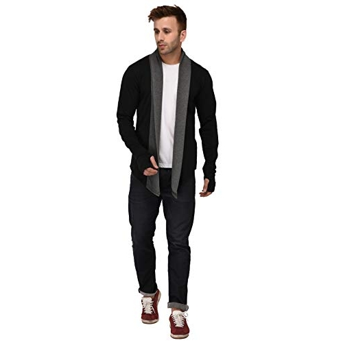 DENIMHOLIC Black Cotton Thumb-Hole Cardigan